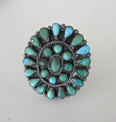 Old Pawn Big Antique Zuni Petit Point Sterling Silver Turquoise Ring Size 7.5