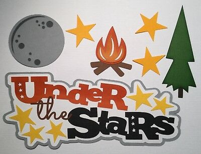 PREMADE SCRAPBOOK PAPER PIECING FOR LAYOUT ALBUM OR CARD-CAMPING-UNDER THE STARS