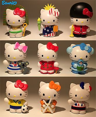 SANRIO 9pc Set Hello Kitty Travel the World Solid Figures/Cake Toppers/Toys New