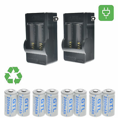 8Pcs CR123A 3.7V 16340 1800Mah Rechargeable Lithium Battery + 2x 2 Slot Charger