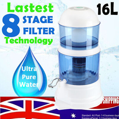 8 Stage Water Filter Ceramic Carbon Mineral Bench top Dispenser Purifier Pot 16L
