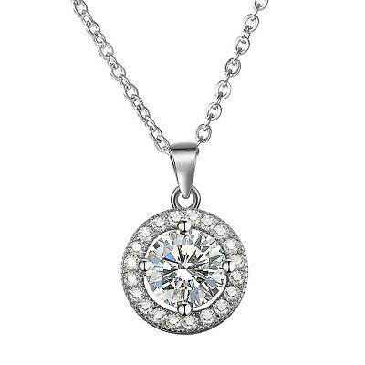 925 Sterling Silver Round Cut Micro-Pave CZ Crystal Halo Pendant Chain Necklace