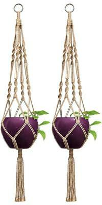 2 Pcs Macrame Plant Hanger Indoor Outdoor Hanging Planter Basket Jute Rope 40""