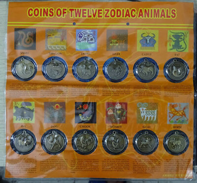 12PCS Chinese Lunar Zodiac Year of the Coin Introduce Medallion