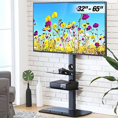 Fitueyes 3 Shelves Tv Stand With Swivel Mount For 32 60 Flat Curved