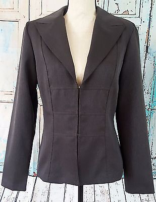 La Belle Womens Blazer Sz 11 Gray Long Sleeve Hook Front Career Jacket Polyester