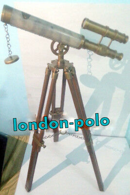 US Navy Marine Vintage Brass Nautical Telescope with Wooden Tripod Antique Gift