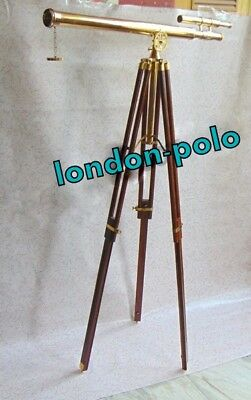 Brass Telescope Double Barrel Griffith Astero With Wooden Tripod Stand