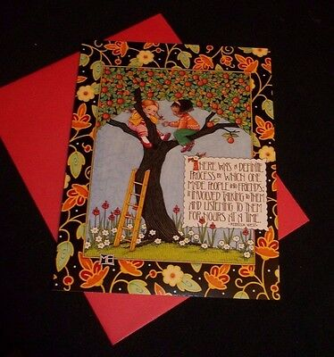 Mary Engelbreit blank note card w/envelope...glitter accented-friendship themed