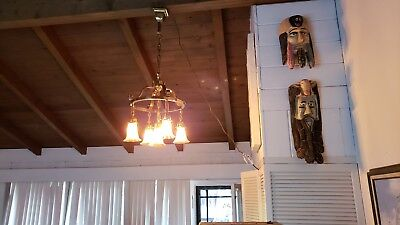 vintage brass chandelier with antique quezal shades
