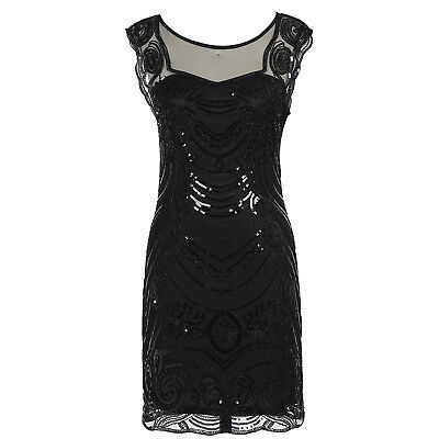 Women 1920s Great Gatsby Art Decor Sequin Beaded Cocktail Party Flapper Dress