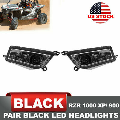 2x LED Headlight with Halo Angel Eye For 2014-17 ATV Polaris RZR 1000 XP / 900