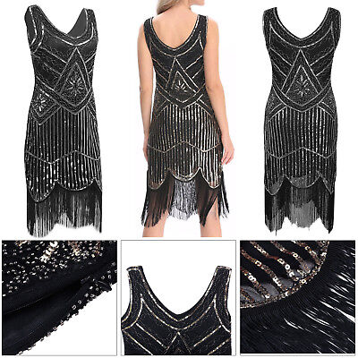 Retro 1920s Flapper Sequin Beaded Gatsby Charleston Costume Womens Party Dress