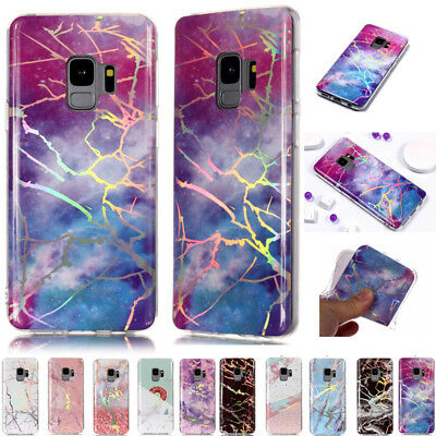 Pattern Bling Plating Marble Soft Silicone Case Cover For Samsung Galaxy Phones