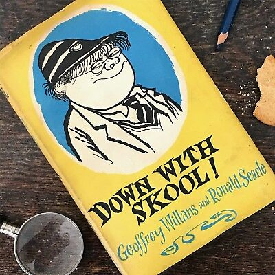 Autographed Down with Skool! Ronald Searle Geoffrey Willans 1st edition 2nd imp