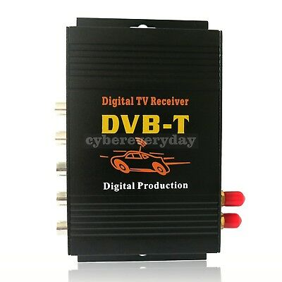 2 Antenna Car DVB-T MPEG-4 Digital TV Dual Tuner RX TV Box 4*Output for Car DVD