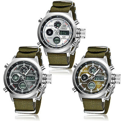 OHSEN Mens Military Army Digital & Analog Nylon Band Sport Watch Quartz