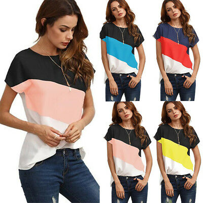 UK Womens Summer Short Sleeve Blouse T Shirts Three-colour Patchwork Loose Tops