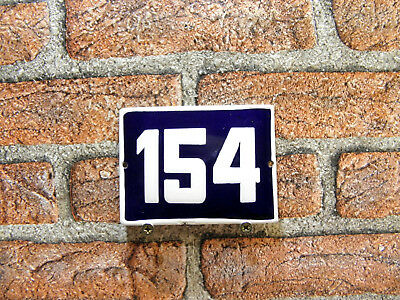 Vintage Sign House Door Number 154, Blue and White Enamel Metal Plate Authentic