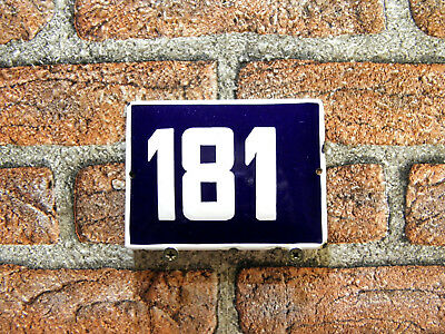 Vintage Sign House Door Number 181, Blue and White Enamel Metal Plate Authentic