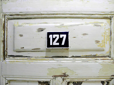 Vintage Sign House Door Number 127, Blue and White Enamel Metal Plate Authentic