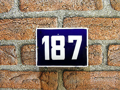 Vintage Sign House Door Number 187, Blue and White Enamel Metal Plate Authentic