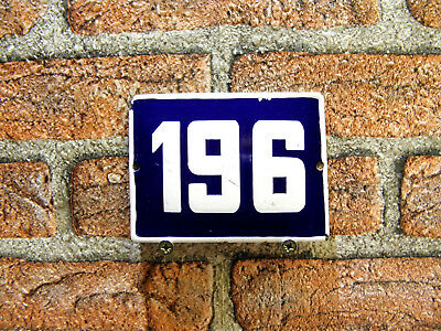 Vintage Sign House Door Number 196, Blue and White Enamel Metal Plate Authentic
