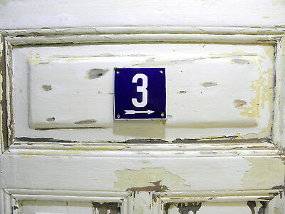 Vintage Sign House Door Number 3, Blue and White Enamel Metal Plate Authentic