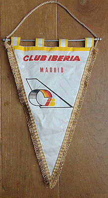 IBERIA Airlines MADRID  Vintage pennant flag RARE – COLLECTOR'S ITEM