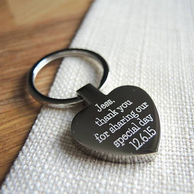 Personalised Metal Silver Heart Keyring Keychain FREE TEXT ENGRAVED Xmas gift
