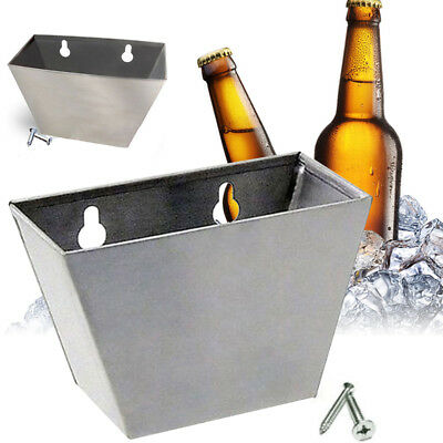 Bar Wall Mount Bottle Beer Opener Cap Stainless Steel Box Catcher W/ Screws