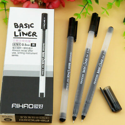 12Pcs/lot Ballpoint Pen for Writing Signature 0.5mm Gel Ink Pens Stationery