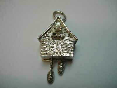 Vintage Silver Black Forest Cuckoo Clock With Moving Weights Charm
