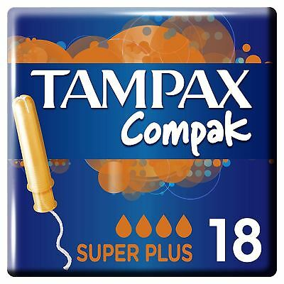 Tampax Compak Super Plus Womens Tampons with Applicator, Leak Protection 18 Pack