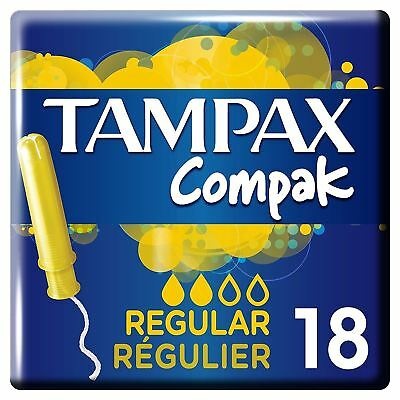 Tampax Compak Regular Women's Tampons with Applicator & Leak Protection, 18 Pack