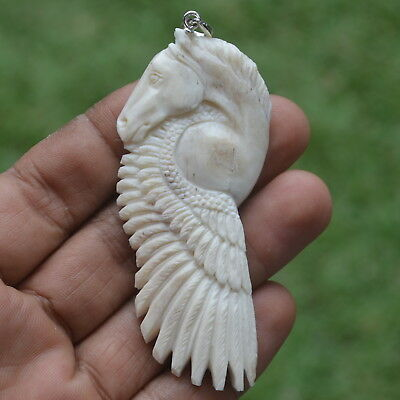 Pegasus Carving 77x33mm Pendant P2663 with Silver in Buffalo Bone Carved