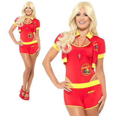 Deluxe Baywatch Lifeguard Costume 1980s 90s Womens Ladies Fancy Dress Outfit
