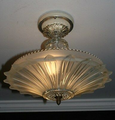 Antique frosted glass sunflower art deco light fixture ceiling antique frosted glass sunflower art deco light fixture ceiling chandelier 1940s aloadofball Image collections