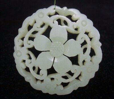 Very Fine Old Chinese Natural Jade Hand Carving Nephrite Round Pendant