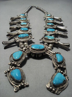 Rare Turquoise Vintage Navajo Sterling Silver Squash Blossom Necklace Old