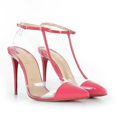59b53066d65 CHRISTIAN LOUBOUTIN 795$ Nosy 100 Pumps In Begonia Patent & Transparent PVC