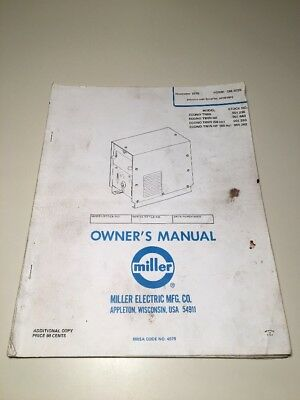 Miller Electric Owners Manual OM-302B Welding ~ Original