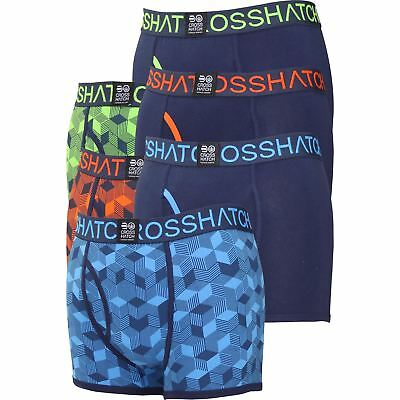 Mens New 2018 Crosshatch Boxer Shorts Queboid 2 Gift Pack Set Underwear Trunks