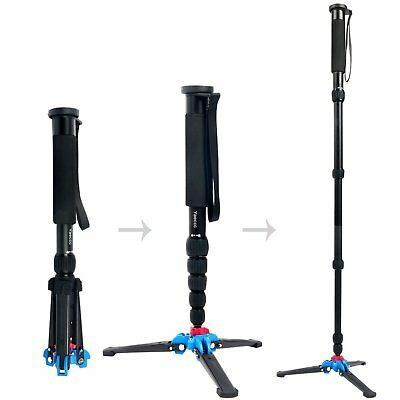 63-inches Camera Aluminium Monopod with Folding Feet Support Stand K-266 Black