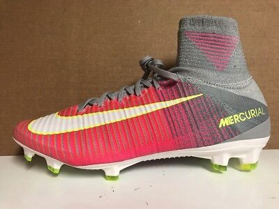 sports shoes 5f5c8 6d073 NIKE MERCURIAL SUPERFLY V FG Flyknit ACC Pink & Grey Sz 10.5 NEW 844226 610