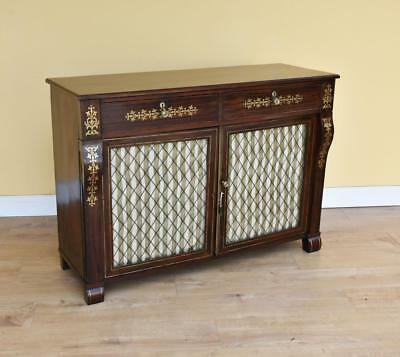Regency Rosewood and Brass Inlaid Bookcase