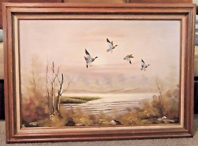 LARGE ARTIST SIGNED OIL ON CANVAS DUCKS FLYING OVER WATER SUNRISE 42 x 30