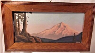 Signed Sherrie Newport 1982 Oil On Canvas Mountainscape Forest Mountains 16 X 28