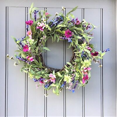 Large Pink Meadow Flowers Wreath from the Easter Spring Summer Collection