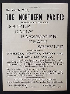 Antique 1891 Ad (1800-1)~Northern Pacific Railway Train Service To West